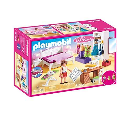 Playmobil Dollhouse 70208 Schlafzimmer und Nähstudio, mit Lichteffekten, ab 4...