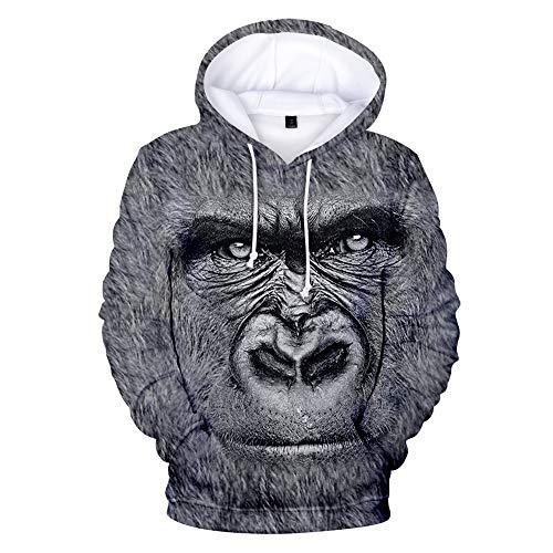 WQWQ Herren Hoodie, Diamond Print Pullover, Slim Fit mit 3D Orang-Utan-Print,...