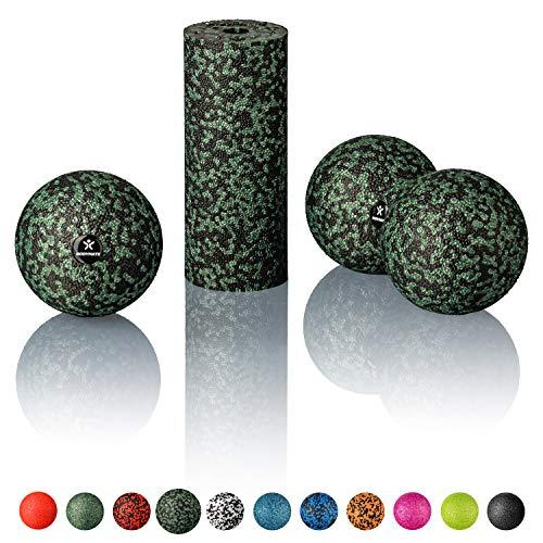 BODYMATE Faszien Mini-Set Schwarz-Midnight-Green - Mini-Faszien-Rolle L15xD6cm,...