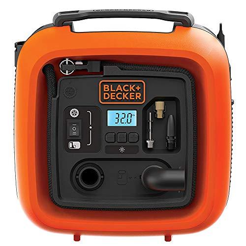 Black+Decker 11.0 Bar/12V-Kompressor/ Luftpumpe (160PSI, für Reifen, Bälle,...