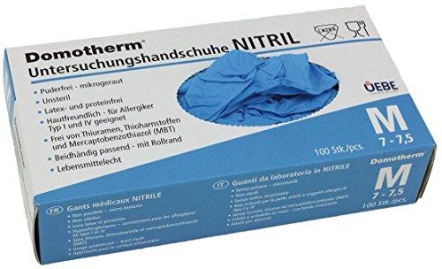 Domotherm Nitril Untersuchungshandschuhe M (Größe 7 - 7,5), 100 Stück...
