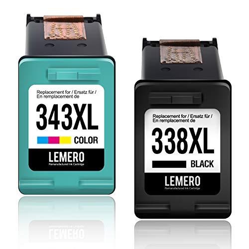 2 LEMERO Wiederaufbereitet Druckerpatronen für HP 338 343 XL für HP Photosmart...