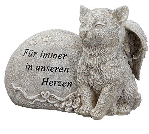 Grabdeko Katze mit Engelsflügeln Spruch Grabstein 17 cm Grau