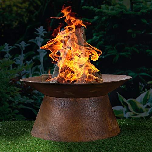 HI Feuerschale in Rostoptik Feuerstelle Gartenfeuer Feuerkorb Pflanzschale 50 cm