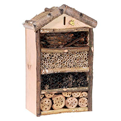 Kölle Insektenhotel mit Schilfdach, Rustikal, aus Holz, 43 x 14 x 29 cm
