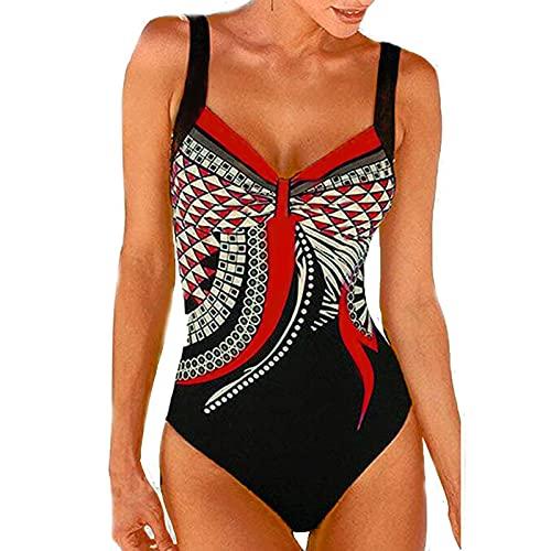 DUIGUN Damen Bikini Set Triangel Badebekleidung Einteiliger Vintage Print Sexy...
