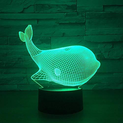 Neue 7-Farben Cute Animal Whale 3D-Sensor Licht LED Neuheit Nachtlicht USB Touch...
