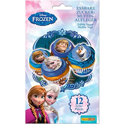 DECOCINO Muffin-Aufleger Frozen – 12 Stück, ø 4,5 cm - essbare Disney...