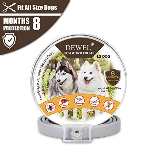 DEWEL 63,5cm Hundehalsbänder gegen Ungeziefer, Verstellbar Zecken Halsband für...