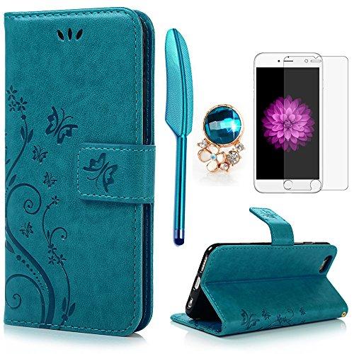 iPhone 6 / 6S Hülle (4,7 Zoll) Wallet Case Flip Hülle YOKIRIN Schmetterling...