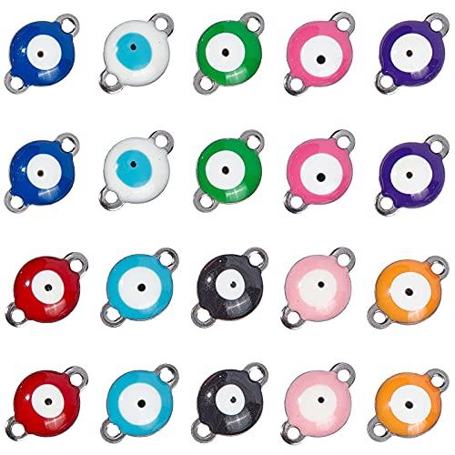 NBEADS 100 Stück Evil Eye Charms, Vakuum-Überzug 304 Edelstahl Emaille Evil...