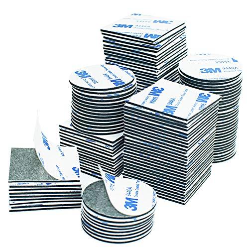 Doppelseitige, selbstklebende Pads, 100 Stück, schwarze Quadrate und runde...