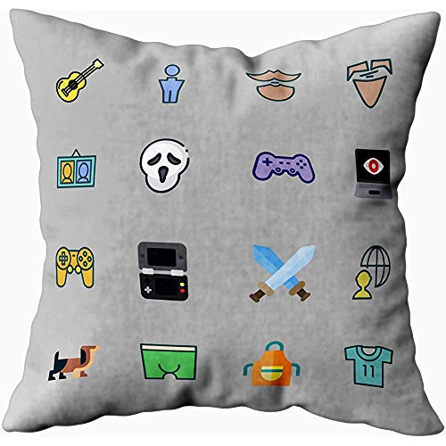 Bue Time Square Throw Pillowcase, Guy Icon Über Gaming-Video-Porträts Scream...