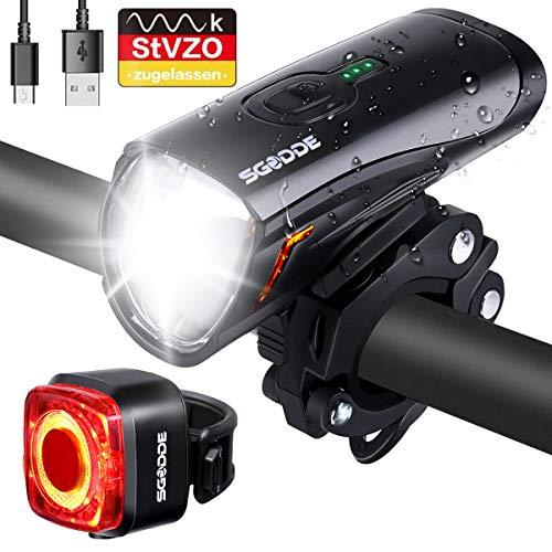 SGODDE LED Fahrradlicht Set, StVZO Fahrradlampe Fahrradbeleuchtung USB...