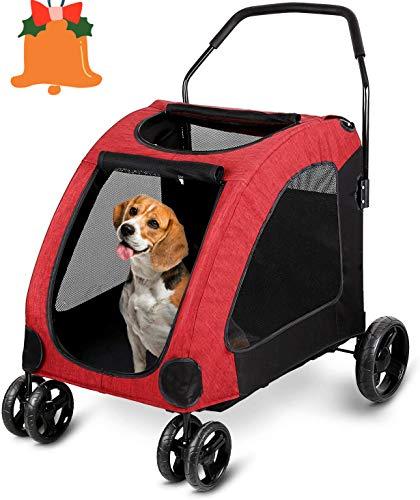 amzdeal Hundewagen Pet Stroller, Faltbarer Hundebuggy mit 4 Eva-Rädern, festem...