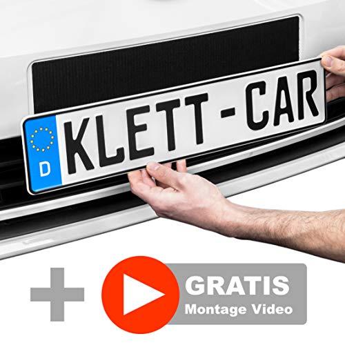 2 x Klett-Car Auto Kennzeichenhalter Set rahmenlos - Nummernschildhalterung für...