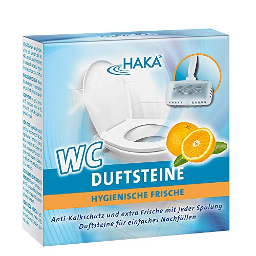 HAKA WC Duftsteine Orange I 4 x 50g Duftsteine I Reiniger gegen Kalk, Urinstein...