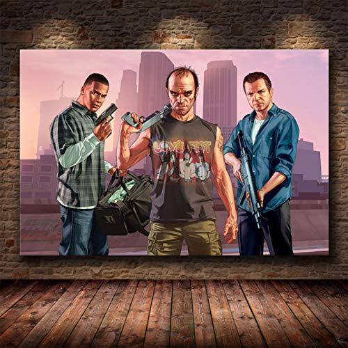lubenwei Grand Theft Auto V Spiel Poster GTA 5 Leinwand Kunstdruck Gemälde...