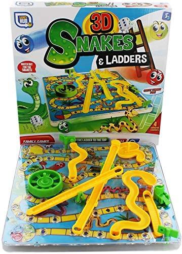 2 x 3D-Schlangen und Leitern Kinder-Brettspiel, traditionelles Familienspielzeug...
