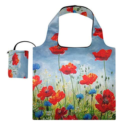 Wiederverwendbare Einkaufstaschen – Kornblumen bemalte Öle, faltbare...