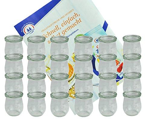 MamboCat 24er Set Weckgläser 220 ml Tulpenform mit Deckel I Original Weck...