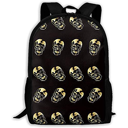 Lmtt Rucksack Gold Skull Bookbag Casual Reisetasche für Teen Boys Girls