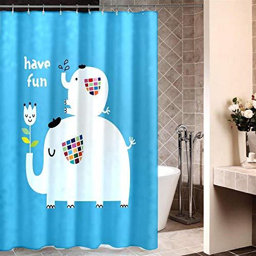 XTUK Home Decor Einfache weiße Blaue Cartoon Badezimmer Mehltau Vorhänge mit...