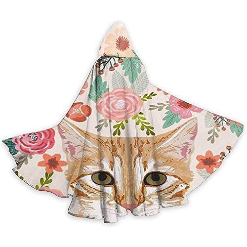 OKME Custom Cape Hexe,Tabby-Katzen-Frühlings-Blumen Netter Girly Katzen-Mantel...