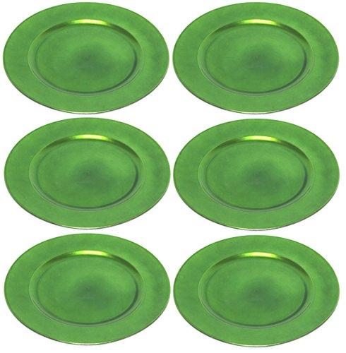 Platzteller Dekoteller Ø 33 cm grün - 6 Stück in wiederverwendbarem...