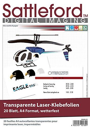 Sattleford Decalfolien: 20 Klebefolien A4 für Laserdrucker transparent...