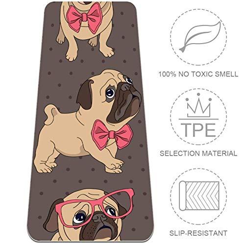 EZIOLY Yogamatte für Hunde mit rotem Rahmen, 6 mm, umweltfreundlich, Gummi,...