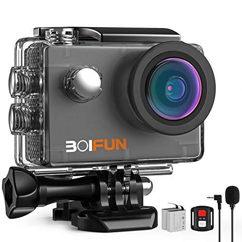 BOIFUN 4K 20MP Action Cam EIS Bildstabilisierte Wi-Fi mit Externem Mikrofon...