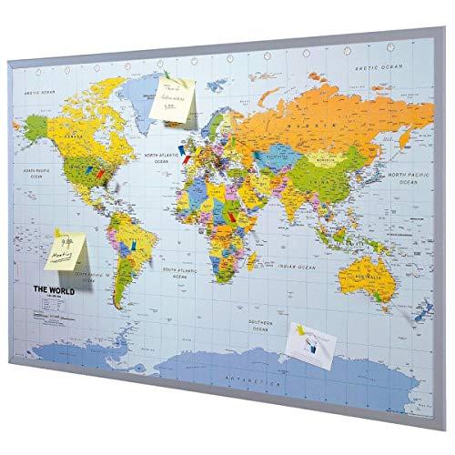 Pinnwand Weltkarte XXL - inklusive 12 Markierfähnchen - Kork - 90 x 60 cm -...