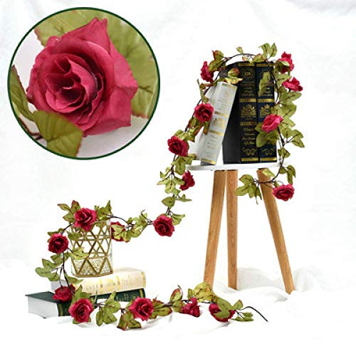 Y&D Fake Rose Vine Flowers Garland Plants Lawn Hedge Fence Artificial Flower...
