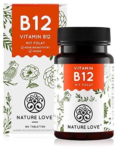 NATURE LOVE® Vitamin B12 Vegan - 180 Tabletten. Beide aktive Formen Adenosyl- &...