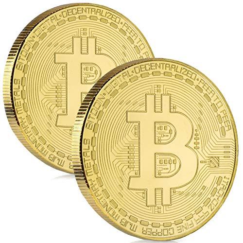 Satoshi Nakamoto Bitcoin Münze - 2X Bitcoin Münzen mit hauchdünnem 24-Karat...