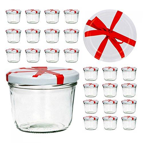 CapCro 25er Set Sturzglas 230 ml to 82 weißer Deckel mit Schleifendekor...