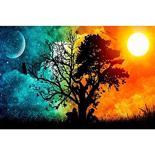 HET 5D Full Drill Point Drill Bild Regenbogen baum-30x45 cm Stickerei gemälde...