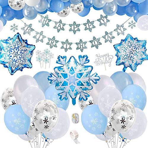 Anyingkai Schneeflocke Geburtstagsfeier Dekorationen mit Happy Birthday Banner,...
