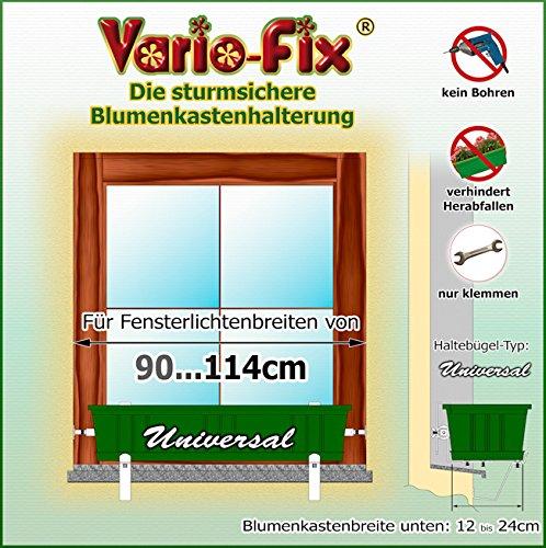 Vario-Fix Universal Haltebügel für 12cm bis 24cm Blumenkasten mit 90cm...