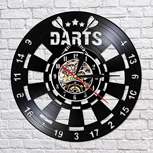 CVG Darts Game Pub Schallplatte Wanduhr Man Cave Game Room Dekoration Retro...