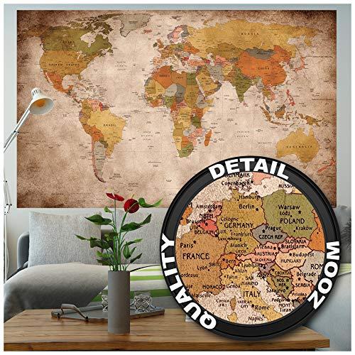 GREAT ART® XXL Poster – Retro Weltkarte – Wandbild Used Look Dekoration...