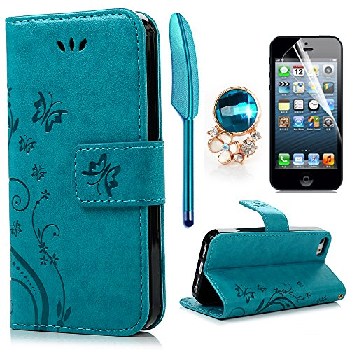 iPhone 5 5S SE Wallet Case iPhone 5 5S SE Flip Hülle YOKIRIN Schmetterling...