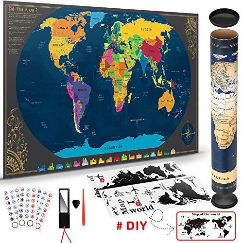 Weltkarte zum Rubbeln mit BONUS Weltwandplakate Personalisiertes Poster  Memory...