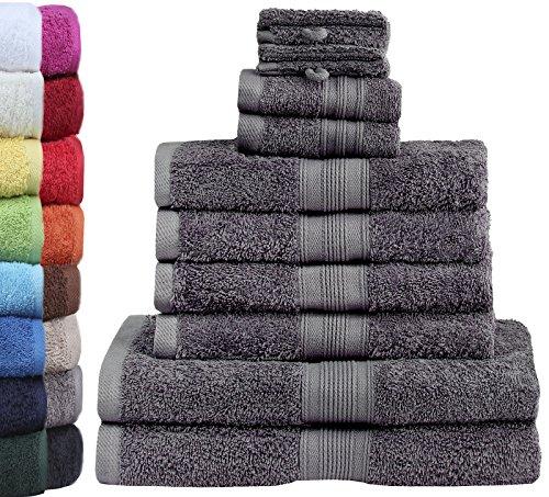 GREEN MARK Textilien 10 TLG. FROTTIER Handtuch-Set mit verschiedenen Größen 4X...