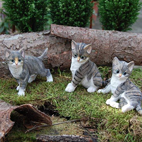 FD 3 Katzenkinder (Set) frostfest Katze Garten Dekofigur täuschend echt