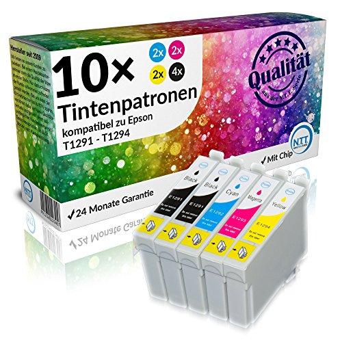 NTT 10 Stück XL Tintenpatronen als Ersatz für Epson Stylus T1295 4 x T1291, 2X...