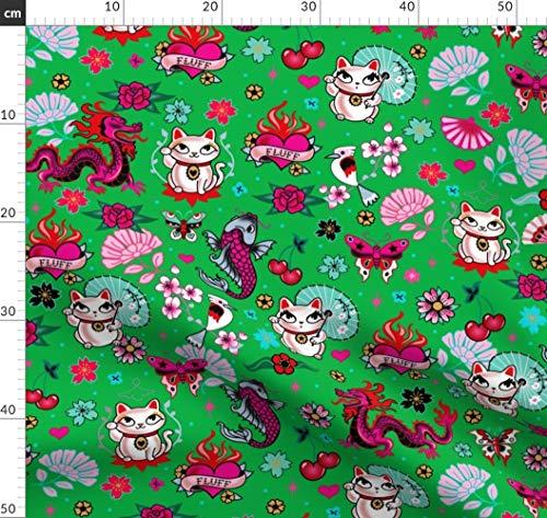 Katzen, Winkekatze, Japanisch, Niedlichen Katzen Stoffe - Individuell Bedruckt...