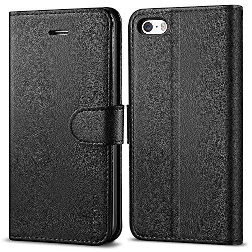 Vakoo Wallet Serie Handyhülle für iPhone 5 Hülle, iPhone 5S Hülle, Schwarz