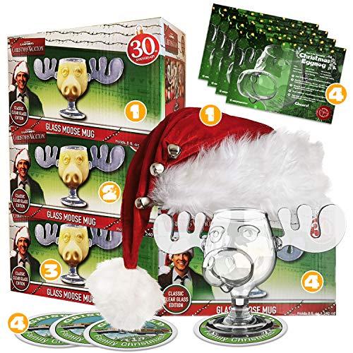 4er Set Schöne Bescherung Elchglas Christmas Vacation Moose Mug aus Glas...